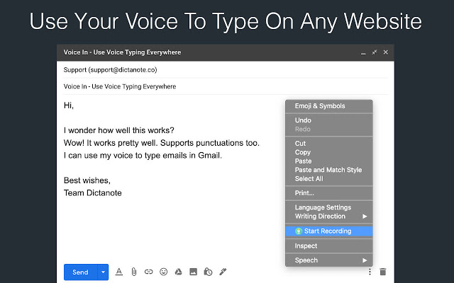 Voice In Voice Typing - Extensions